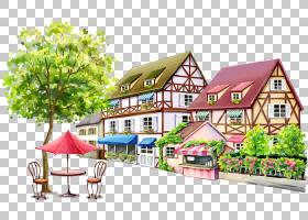 房地产背景,财产,回家,小屋,房地产,房子,水彩画,别墅,树,长凳,免
