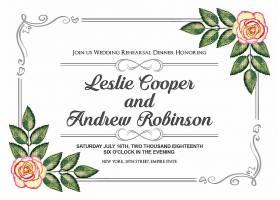 白底欧式边框玫瑰花婚礼邀请函请柬请帖卡片通用模板设计
