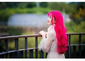 女人,亚洲的,女孩,妇女,长的,头发,模特,深度,关于,领域,粉红色,