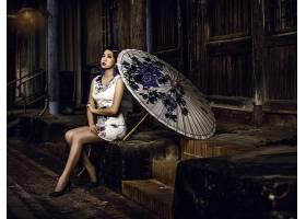 女人,亚洲的,女孩,雨伞,妇女,模特,和服,耳环,口红,黑发女人,旗袍图片