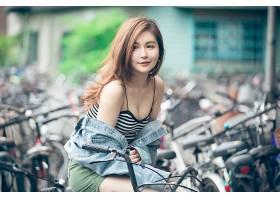 女人,亚洲的,深度,关于,领域,口红,黑发女人,斜纹粗棉布,壁纸,