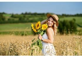 女人,模特,夏天,女孩,微笑,妇女,白皙的,帽子,白色,穿衣,深度,关图片