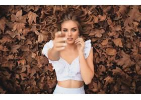 女人,模特,妇女,女孩,红发的人,说谎的,向下,蓝色,眼睛,叶子,壁纸