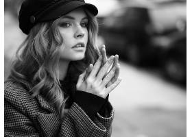 女人,阿纳斯塔西娅,Scheglova,模特,俄罗斯,女孩,模特,帽子,黑白