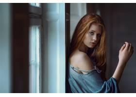 女人,模特,妇女,女孩,红发的人,长的,头发,蓝色,眼睛,壁纸,图片