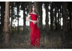 女人,模特,妇女,女孩,红色,穿衣,口红,深度,关于,领域,黑发女人,