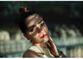 女人,模特,女孩,妇女,脸,口红,深度,关于,领域,绿色的,眼睛,黑发