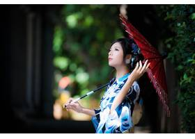 女人,亚洲的,女孩,雨伞,和服,深度,关于,领域,黑色,头发,妇女,模