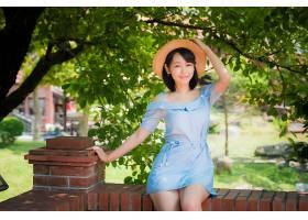 女人,亚洲的,妇女,模特,女孩,帽子,深度,关于,领域,黑色,头发,蓝