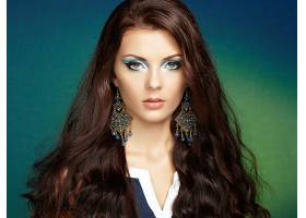 女人,模特,妇女,女孩,脸,长的,头发,耳环,蓝色,眼睛,壁纸,图片