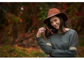 女人,模特,微笑,女孩,帽子,深度,关于,领域,黑发女人,棕色,眼睛,