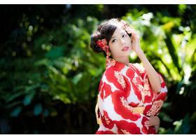 女人,亚洲的,女孩,和服,妇女,模特,黑色,头发,深度,关于,领域,壁