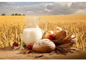 食物,仍然,生活,面包,篮子,番茄,洋葱,小麦,领域,天空,壁纸