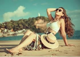 女人,模特,妇女,女孩,帽子,太阳镜,沙,情绪,长的,头发,黑发女人,图片
