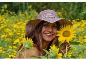 女人,模特,妇女,女孩,帽子,微笑,黑发女人,向日葵,黄色,花,壁纸,图片