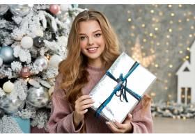 女人,模特,妇女,女孩,礼物,微笑,白皙的,蓝色,眼睛,圣诞节,壁纸,