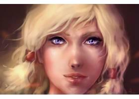 女人,艺术的,女孩,肖像,紫色,眼睛,壁纸,