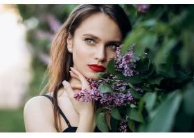 女人,模特,花,口红,妇女,女孩,蓝色,眼睛,黑发女人,壁纸,图片