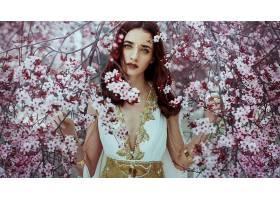 女人,模特,花,花,妇女,女孩,蓝色,眼睛,红色,头发,壁纸,图片