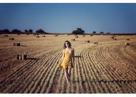 女人,模特,领域,夏天,女孩,妇女,黄色,穿衣,深度,关于,领域,干草图片