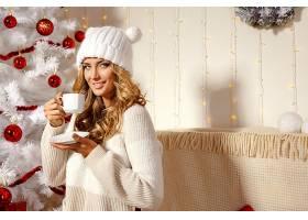 女人,模特,女孩,微笑,白皙的,妇女,小玩意,帽子,圣诞节,壁纸,(1)