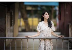 女人,亚洲的,妇女,模特,女孩,深度,关于,领域,穿衣,黑色,头发,壁