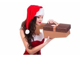 女人,情绪,妇女,模特,女孩,礼物,圣诞老人,帽子,黑色,头发,长的,图片