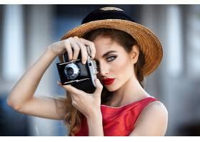 女人,模特,妇女,女孩,照相机,帽子,口红,蓝色,眼睛,壁纸,图片