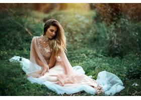 女人,情绪,妇女,模特,女孩,长的,头发,白皙的,深度,关于,领域,项