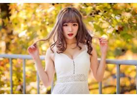 女人,亚洲的,妇女,模特,女孩,白色,穿衣,深度,关于,领域,口红,壁