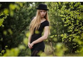 女人,模特,妇女,女孩,白皙的,帽子,深度,关于,领域,长的,头发,壁