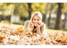 女人,模特,妇女,女孩,白皙的,微笑,深度,关于,领域,叶子,壁纸,