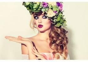 女人,模特,女孩,花,化妆品,花冠,口红,蓝色,眼睛,壁纸,图片