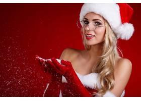 女人,模特,妇女,女孩,白皙的,眼镜,微笑,口红,圣诞老人,帽子,淡褐图片