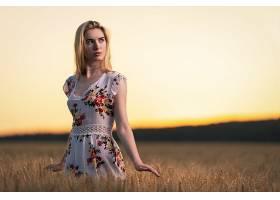 女人,模特,妇女,女孩,白皙的,穿衣,深度,关于,领域,夏天,小麦,壁