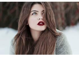 女人,模特,女孩,长的,头发,黑发女人,口红,深度,关于,领域,脸,壁
