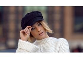 女人,模特,妇女,女孩,短的,头发,白皙的,帽子,深度,关于,领域,壁
