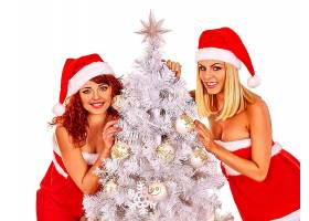女人,模特,圣诞节,圣诞老人,帽子,圣诞节,树,妇女,女孩,红发的人,图片