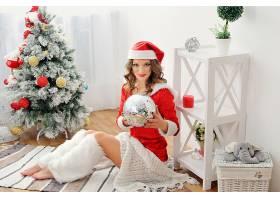 女人,模特,圣诞节,妇女,女孩,圣诞老人,帽子,黑发女人,口红,壁纸,图片
