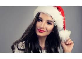 女人,脸,女孩,妇女,模特,口红,圣诞老人,帽子,黑色,头发,壁纸,图片