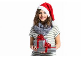女人,模特,圣诞节,妇女,女孩,微笑,礼物,圣诞老人,帽子,蓝色,眼睛图片