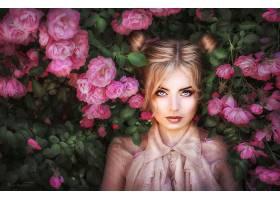 女人,模特,妇女,女孩,白皙的,蓝色,眼睛,花,粉红色,花,壁纸,