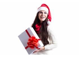 女人,模特,妇女,圣诞节,圣诞老人,帽子,女孩,长的,头发,微笑,礼物图片