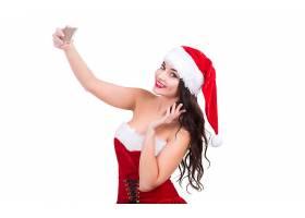 女人,模特,妇女,圣诞节,黑发女人,微笑,自拍照,女孩,圣诞老人,帽图片