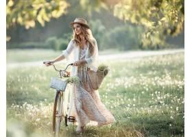 女人,模特,夏天,女孩,自行车,穿衣,白皙的,帽子,深度,关于,领域,