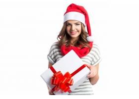 女人,模特,妇女,女孩,黑发女人,礼物,微笑,口红,圣诞老人,帽子,圣图片