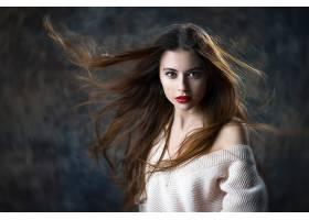 女人,模特,妇女,女孩,口红,黑发女人,长的,头发,蓝色,眼睛,壁纸,图片