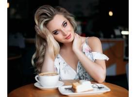 女人,模特,妇女,女孩,咖啡,杯子,白皙的,蓝色,眼睛,口红,壁纸,图片