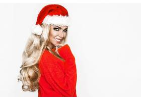 女人,模特,妇女,女孩,圣诞老人,帽子,白皙的,长的,头发,微笑,蓝色图片
