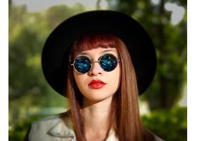女人,模特,妇女,女孩,太阳镜,口红,脸,帽子,红发的人,深度,关于,